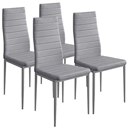 BAKAJI Set 4 Sedie Moderne Sala da Pranzo Salotto Cucina Seduta Imbottita Ecopelle 4X Sedie in Promo Struttura Acciaio (Grigio)
