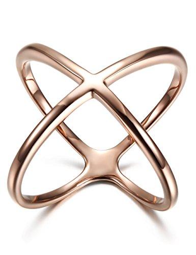 WISTIC Damen Kreuz Ring Vergoldet aus Edelstahl Partnerring Geschenk für Mutter Freundin Tochter Silber Rose Gold