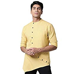 SVANIK Yellow A-line Cut Mens Kurta