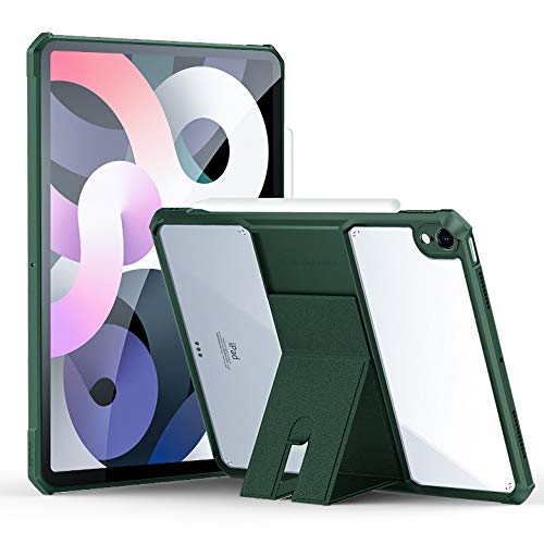 HaoHZ Case for Ipad Air 4 (10.9 Inch) 2020, Ultra Slim Clear Protective Back Cover with Multi-Angle Stand, Shock Absorption Soft TPU Edge Bumper,Green