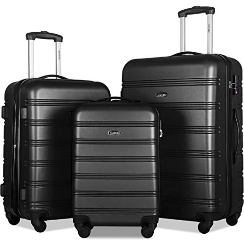 Merax 3 Pcs Luggage Set Expandable Hardside Lightweight Spinner Suitcase with TSA Lock [Upgraded Version], Black