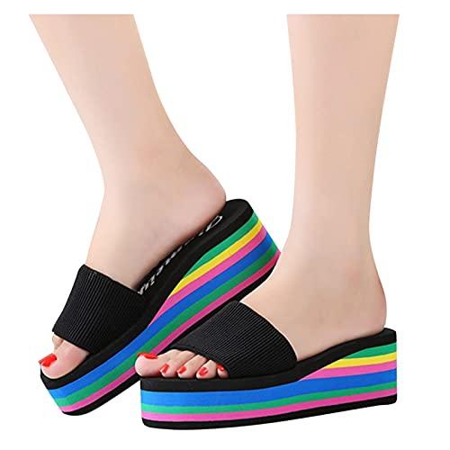 BIBOKAOKE Sandalias de mujer con cuña para verano, sandalias de playa bohemias, para el tiempo libre