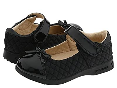 pediped Naomi Flex (Toddler/Little Kid) (Black Quilted Fabric) Girls Shoes