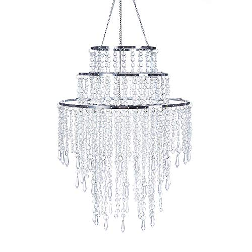 "SUNLI HOUSE 3 Tiers Sparkling Acrylic Iridescent Beaded Pendant Shade, Ceiling Chandelier Lampshade with Chrome Frame,12.6""Diameter,Bulb is NOT Included"
