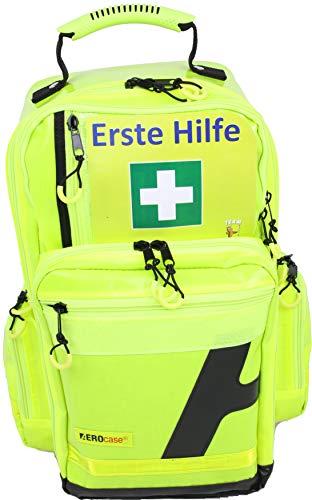 Notfallrucksack Medicus/PRO - LEER - 28 Ltr. aus gelber Plane mit gelben Reflexstreifen und 5 Modultaschen, 3 Außentaschen
