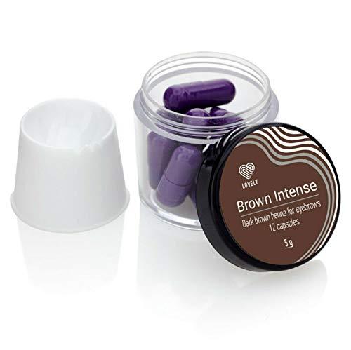 LOVELY HENNA, Augenbrauenfarbe (12 Kapseln á 5g) Haarpuder für Augenbrauen, Haftkraft für bis zu 6 Wochen, verschiedene Brow Farben