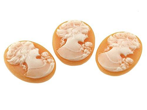 4 Kameen in apricot weiß, Gemme 24 x 18 mm von Vintageparts, DIY-Schmuck