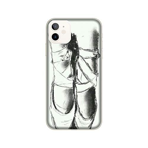 Funda iPhone 12 Mini Carcasa Apple iPhone 12 Mini Danza, qué pasión zapatillas de ballet negro y blanco / Cubierta Imprimir también en los lados / Cover Antideslizante Antideslizante Antiarañazos