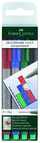 Faber-Castell 151404 - Marker MULTIMARK non-permanent, Stärke: F, 4er Etui, Inhalt: je 1x rot, blau, grün, schwarz