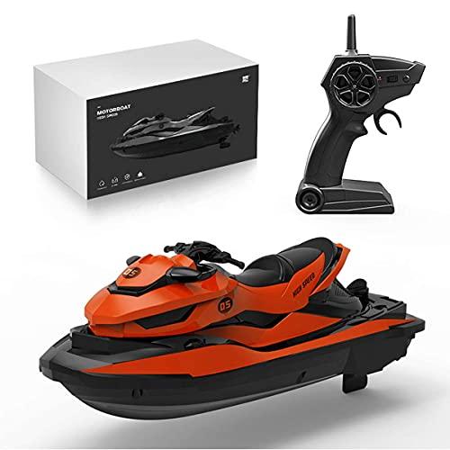 J-Clock Barco RC 2.4G - Barco Control Remoto para niños y Adultos para Lagos y Piscinas con 2 baterías/Motores Dobles/2 Cables Carga y Barco Motor con indicador batería Baja