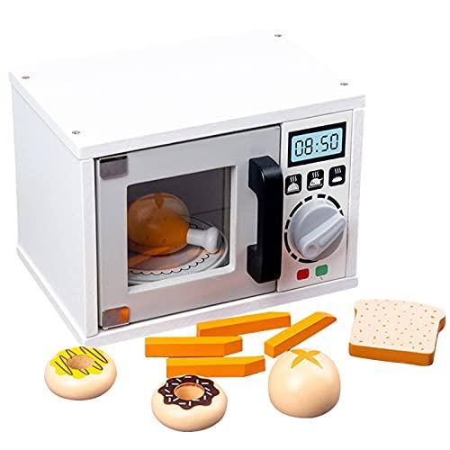 N\C Casa de Juegos de Madera, microondas, tostadora, cafetera, Juego de simulación educativa para niños, Juguete de Corte de Cocina
