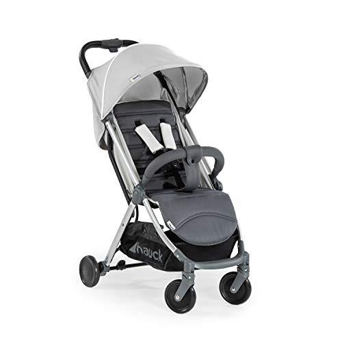 Hauck Swift Plus kompakter Buggy bis 18 kg mit Liegefunktion ab Geburt, extra klein klappbar, Einhand-Faltmechanismus, leicht, aus Aluminium, mit Tragegurt, grau