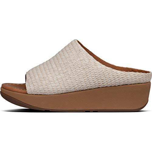 Sandalias de cuña de Mujer FitFlop de Rafia Color Blanco