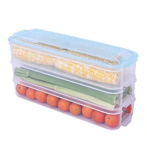 Caja de Almacenamiento de Alimentos de 3 Capas Contenedor de mariscos de Cocina para Carne y Verduras Azul + Transparente