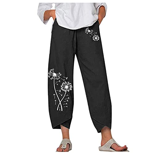 Womens Sport High Rise Elastic Waist Pockets Pull On Pants,Kcocoo Wide Leg Pants for Women Summer Casual Crop Capris Trousers(Black,XL)