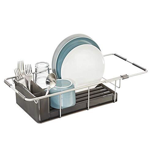 mDesign égouttoir à Vaisselle en Aluminium – seche Vaisselle avec Pot a Couvert Amovible – étendoir pour Vaisselle Extensible pou l'évier – fumée/argenté
