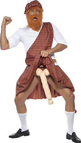 Smiffys Costume de Highlander pendu, rouge, chapeau, barbe, haut, écharpe, kilt, sporran