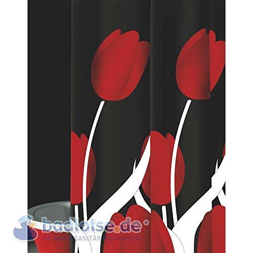 wohnideenshop Duschvorhang Tulipani schwarz rot weiß Tulpen 180cm breit x 200cm lang Textil mit Ringe