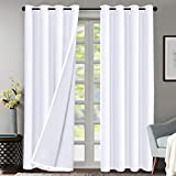 Flamingo P Double Layer 70% Blackout White Curtains for Bedroom 84 Inches Long Thermal Insulated Lined Curtains for Living Room | Light Blocking Energy Saving Grommet Drapes Draperies, 2 Panels