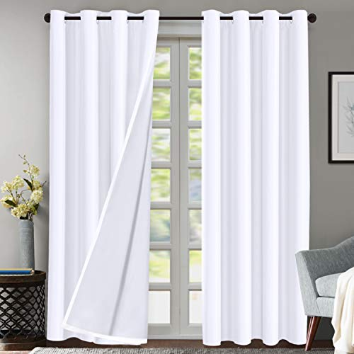 Flamingo P Double Layer 70% Blackout White Curtains for Bedroom 108 Inches Long Thermal Insulated Lined Curtains for Living Room | Light Blocking Energy Saving Grommet Drapes Draperies, 2 Panels