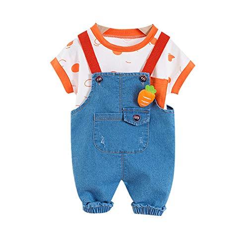 Loalirando Conjunto de ropa de bebé unisex de manga corta + peto de vaqueros con bolsillos grandes y pernera...