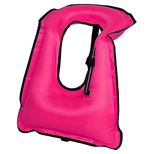 ZAYZ Chaleco de Snorkel Inflable para Adultos Hombres Mujeres Ajuste Cómodo Chaleco Salvavidas para Buceo Natación (Color : Pink, Size : 61x45cm)