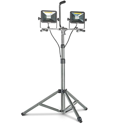 VonHaus Dual Head 4000 Lumen LED Work Light with Tripod Stand, Detachable Metal Lamp Housing, Telescopic Stand, Rotating Waterproof Lamps and 8.2Ft Power Cord