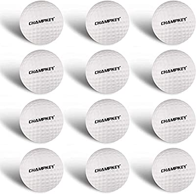 Champkey FLYTECH High Impact Hybrid Foam Practice Golf Balls (Pack of 6 or 12 Pcs) - Reduced Flight Distance & Get Real Practice Ideal for Indoor or Outdoor Training (White, 12 Pack)