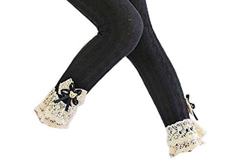 Black Temptation Trendy Mesh Cotton Lace Mädchen Strümpfe Mode Leggings Hosen für Frühjahr/Herbst, 03