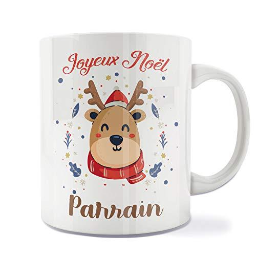 Mug | Tasse | Café | Thé | Petit-déjeuner | Vaisselle | Céramique | Original | Imprimé | Message | Fêtes | Idée cadeau | Renne de Noël - Joyeux Noël Parrain