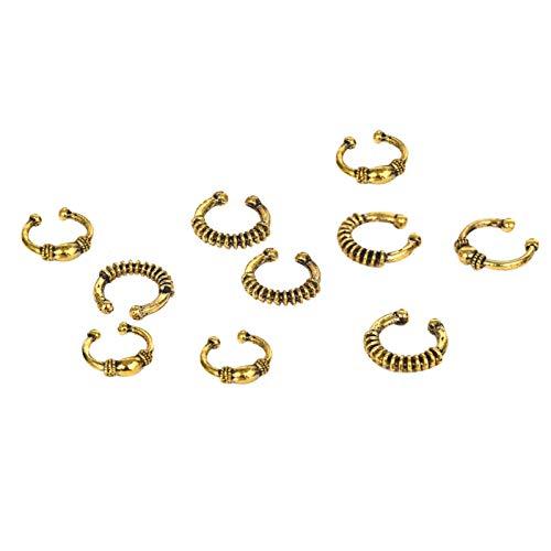 Adornos para el pelo para mujer, diseño de estrella de mar, trenzado, rastas, anillo de aleación, trenzado, anillo de aro, estilo antiguo, círculo dorado