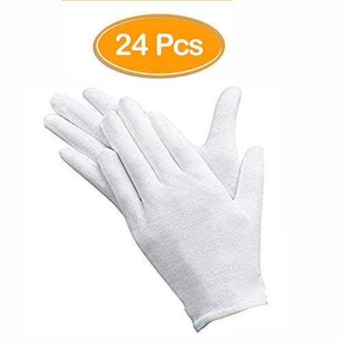 ANDSTON 12 Paar (24 Stück) Weiße Handschuhe Baumwolle, Stoff Handschuhe Weiss, Care Baumwollhandschuhe, Bequem und Atmungsaktiv, für Hautpflege, Schmuck Untersuchen, Tägliche Arbeit usw