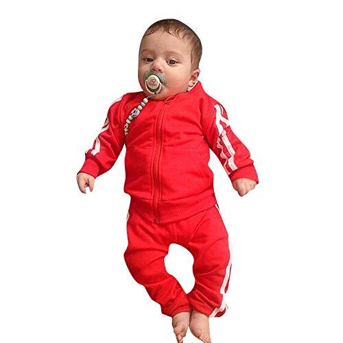 K-youth Ropa Bebe Nino Recien Nacido Otoño Invierno 2018 Ofertas Blusas Bebe Niña Abrigo Manga Larga Camisetas Bebé Conjuntos Bebe Niña Moda Camisa + Pantalones Largos(Rojo, 0-6 Meses)
