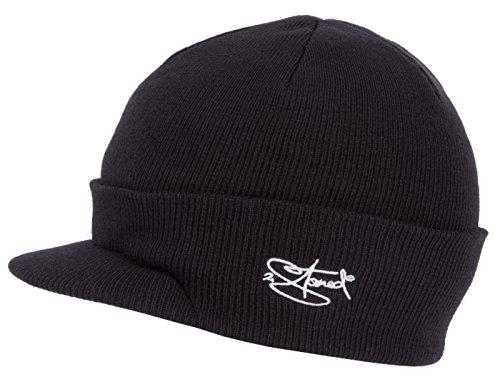 2Stoned Mütze mit Schirm Visor Beanie Cap Deluxe, One-Size Damen und Herren, Schwarz