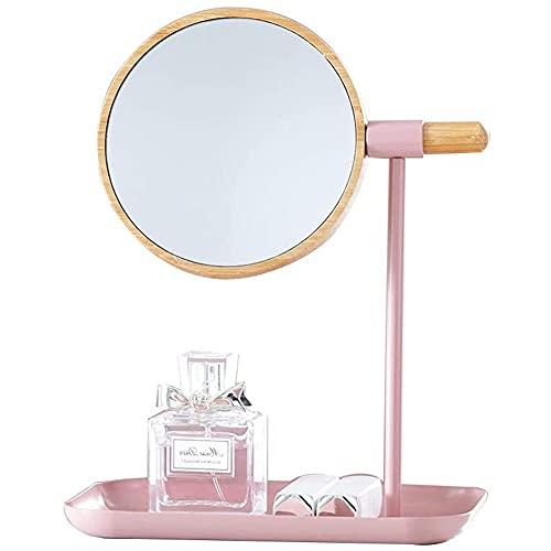 YSDS-JZ Espejo Maquillaje Espejo De Maquillaje De Escritorio con Cara Doble: 1X, 3X Ampliación, Que Se Puede Girar 360 °, Espejo De Mesa para Afeitar Y Maquillar,Rosado