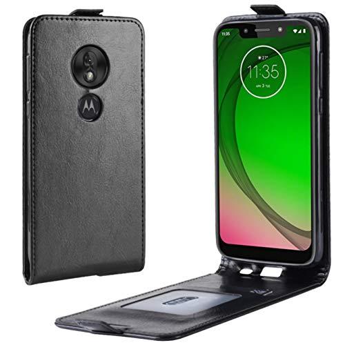 HualuBro Motorola Moto G7 Power Hülle, Premium PU Leder Brieftasche Schutzhülle HandyHülle [Magnetic Closure] Handytasche Flip Hülle Cover für Motorola Moto G7 Power Tasche (Schwarz)