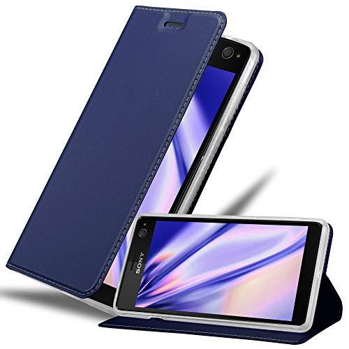 Cadorabo Hülle für Sony Xperia C4 - Hülle in DUNKEL BLAU – Handyhülle mit Standfunktion & Kartenfach im Metallic Erscheinungsbild - Case Cover Schutzhülle Etui Tasche Book Klapp Style
