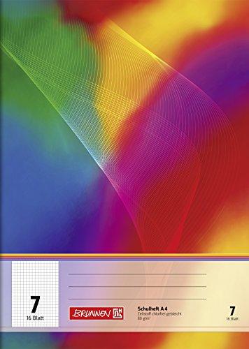 Brunnen 104490702 Schulheft A4 (16 Blatt, 7 mm kariert, Lineatur 7)