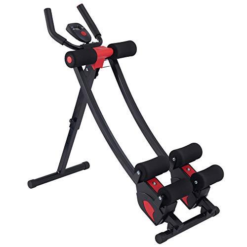 Z ZELUS Máquina de Entrenamiento Abdominal con Pantalla Digital Máquina de Fitness para Abdominales con 4 Niveles Ajustables AB Generator Plegable para Adelgazar la Cintura