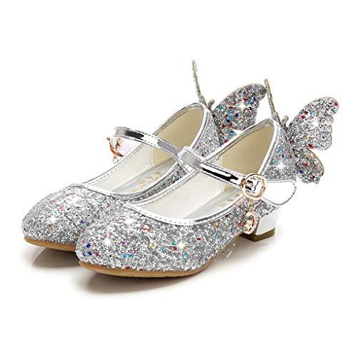 Prinzessin Schuhe für Mädchen, Dorical Prinzessin Gelee Partei Absatz-Schuhe Sandalette Stöckelschuhe Bling Bowknot einzelne Sandalen Säuglingsschule Walker Schuhe für Kinder(Z1-Silber,31 EU)