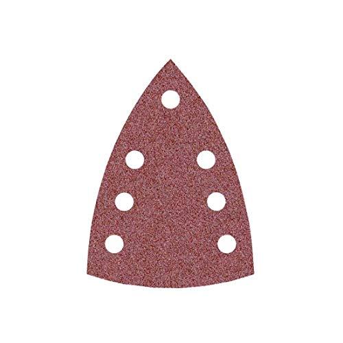 MioTools Fox Discos Abrasivos Triangulares con Velcro, 150 x 100 mm, 7 Agujeros, Grano 150, para Lijadoras Delta, Corindón Normal (50 Piezas)