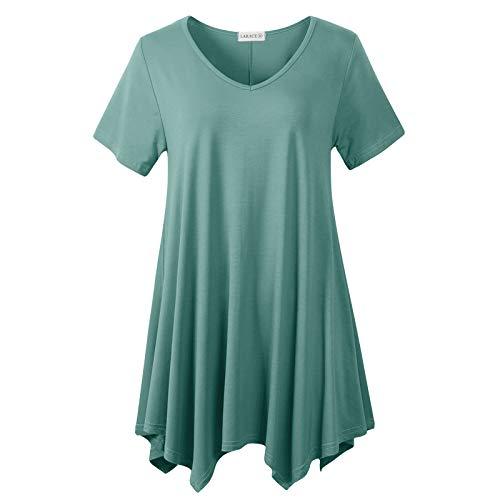 LARACE Womens V Neck T Shirts Casual Loose Fit Short Sleeve Tunic Plus Size Tops for Leggings(Grayish Green 5X)