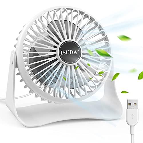 Ventilador portátil,ISUDA Mini Ventilador USB,Ventilador Sobremesa Alimentado por USB con 3 Velocidades ajustables,Cable de 1.2 metros,Pequeño Ventilador USB de bajo ruido para oficina,hogar,e