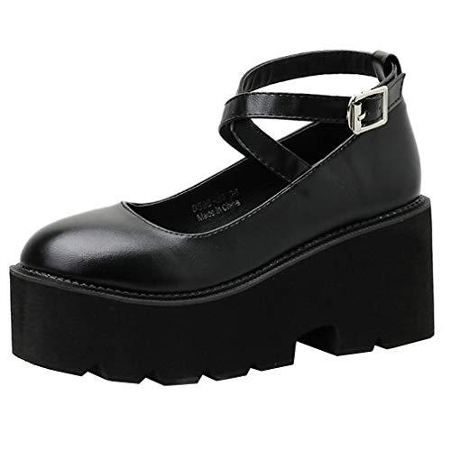 COCOLULU Damen Gothic Pumps High Heels Plateau und Riemchen Schuhe(EU Size 39, schwarz)