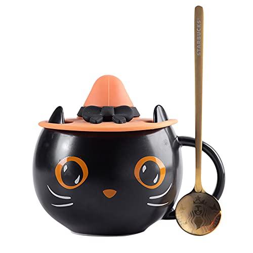 Taza de café de gatito, taza de café de Halloween y taza de té, reutilizable, cuchara con tapa, taza de regalo para parejas