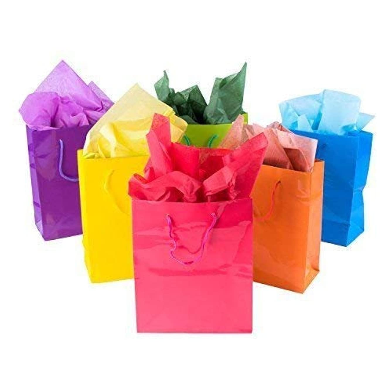 Tytroy Set of 12 Small Multi Color Glossy Gift Bags with Handles Paper Gift Bags for Birthday Parties All Occasions