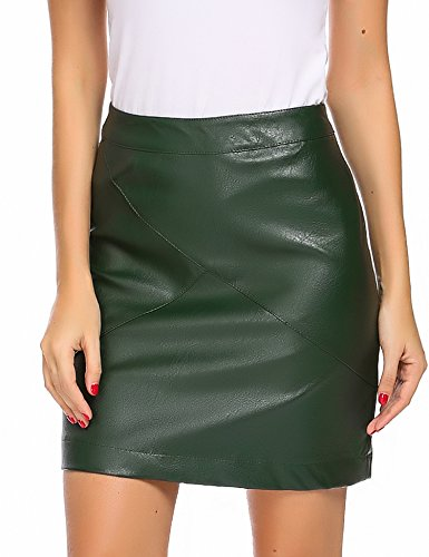 Parabler Damen Klassische Leder Rock hoch taillierte Faux Leather Bodycon Mini Rock Figurbetont Stretch Bleistiftrock Kurz