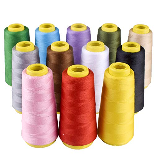 12 Pcs 1500 Meters Each Spool Polyester Serger Thread Sewing Threads for Hand or Machine Sewing