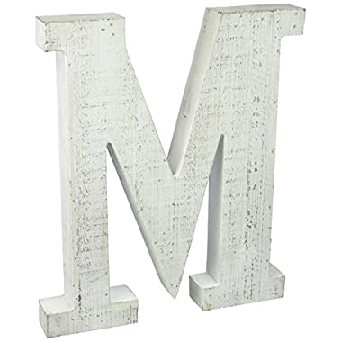 ADECO Trading Adeco Wooden Hanging Wall Letters M - White Decorative Wall Letter of Living Room, Baby Name and Bedroom Decor, Whitewash
