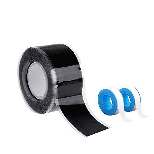 Homo Trends - Cinta selladora para tuberías de agua, 2 paquetes de 15 m y 1 paquete de 25 mm x 3 m, cinta de silicona impermeable para tuberías de agua, fugas de manguera de agua, cables eléctricos